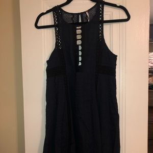 Free People black and navy cut out dress